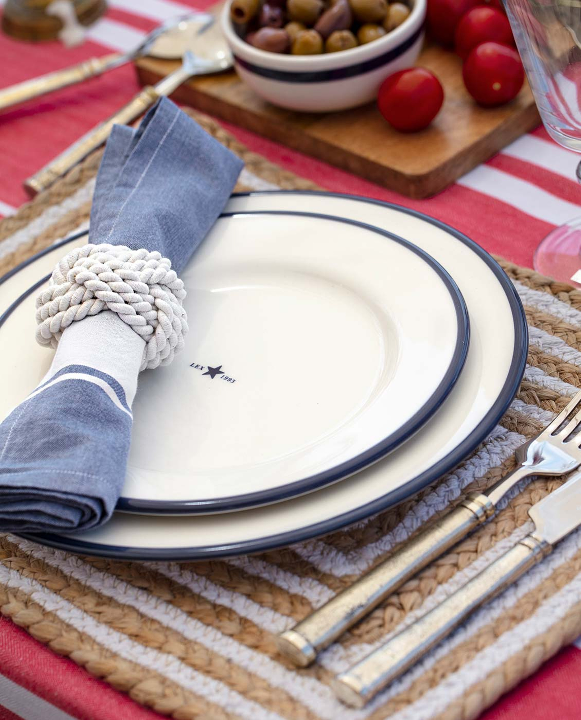 Napkin With Stripe, Blue/White
