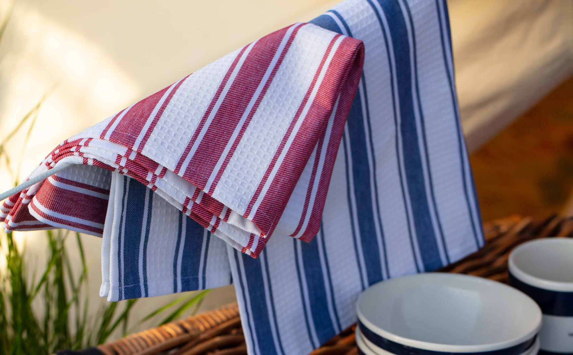 Striped Waffle Kitchen Towel, White/Red