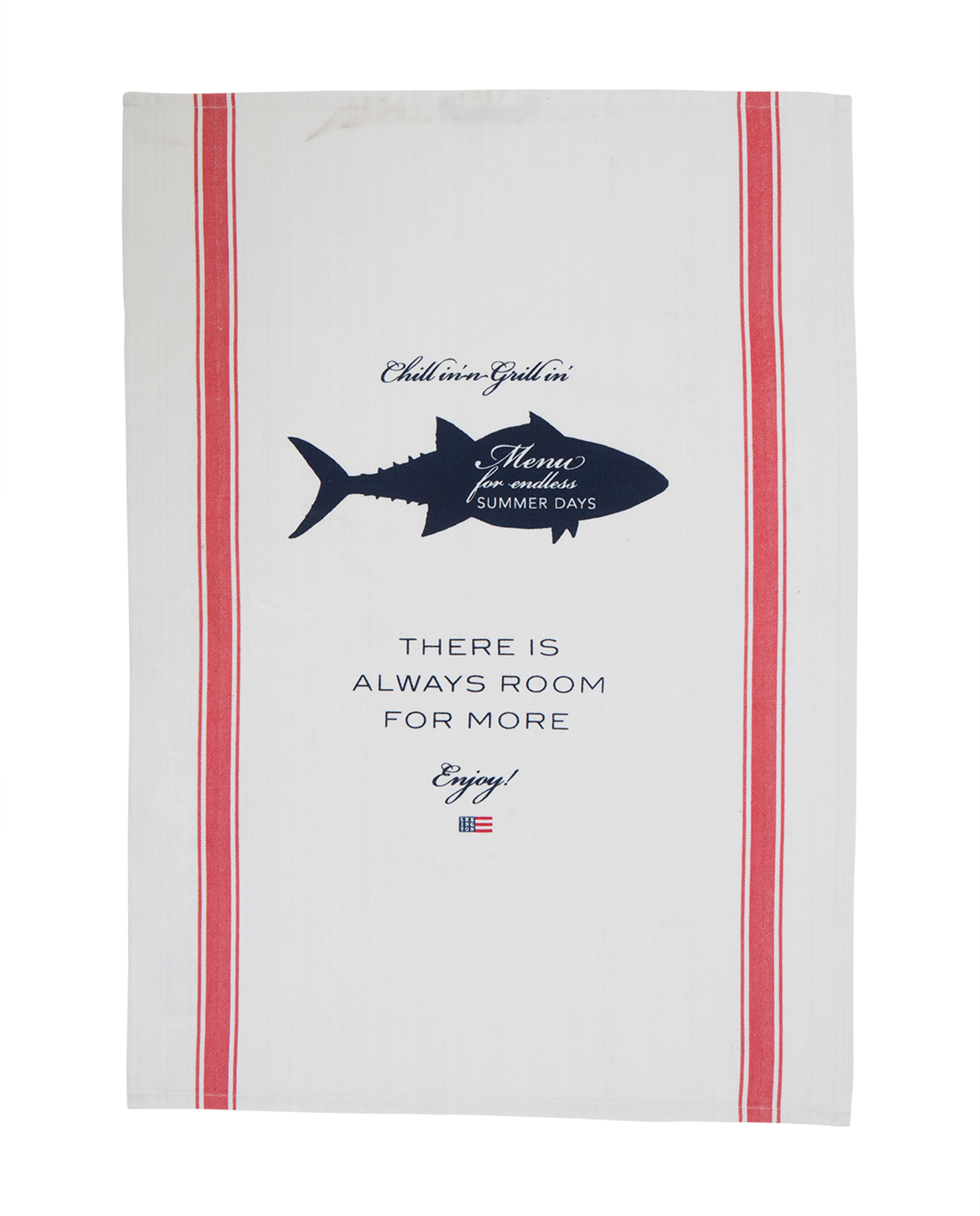Printed Kitchen Towel, White/Red
