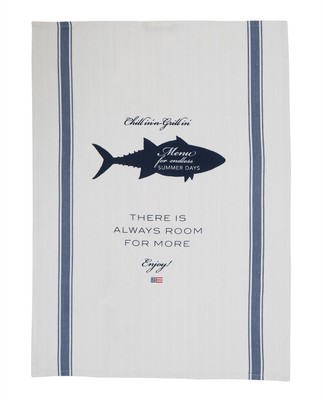 Printed Kitchen Towel, White/Blue