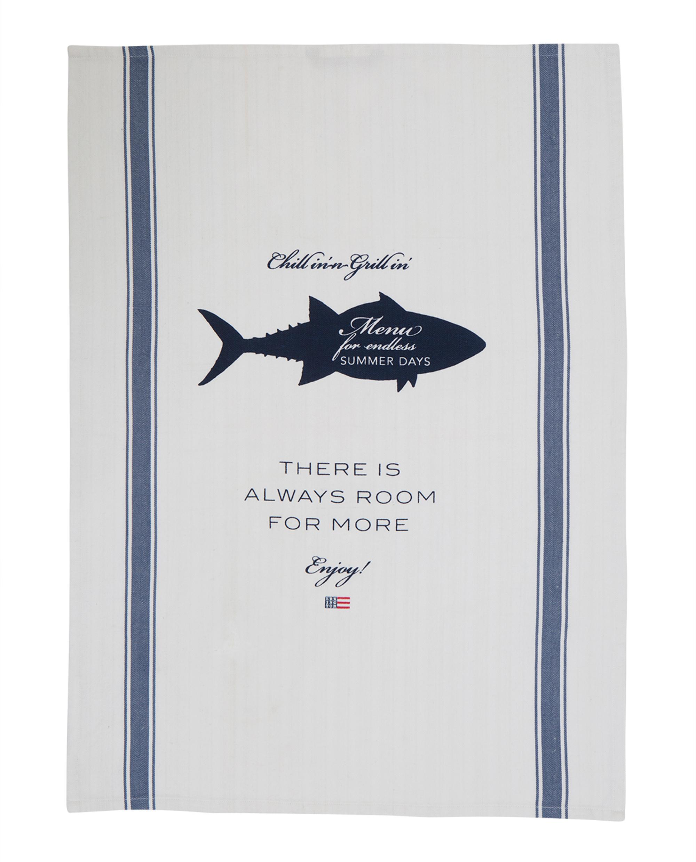 Printed Kitchen Towel, White/Blue