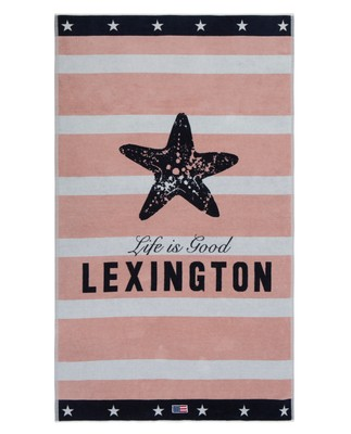 Graphic Velour Beach Towel 100x180, Pink/White