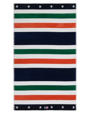 Multi Striped Velour Beach Towel 100x180, Green