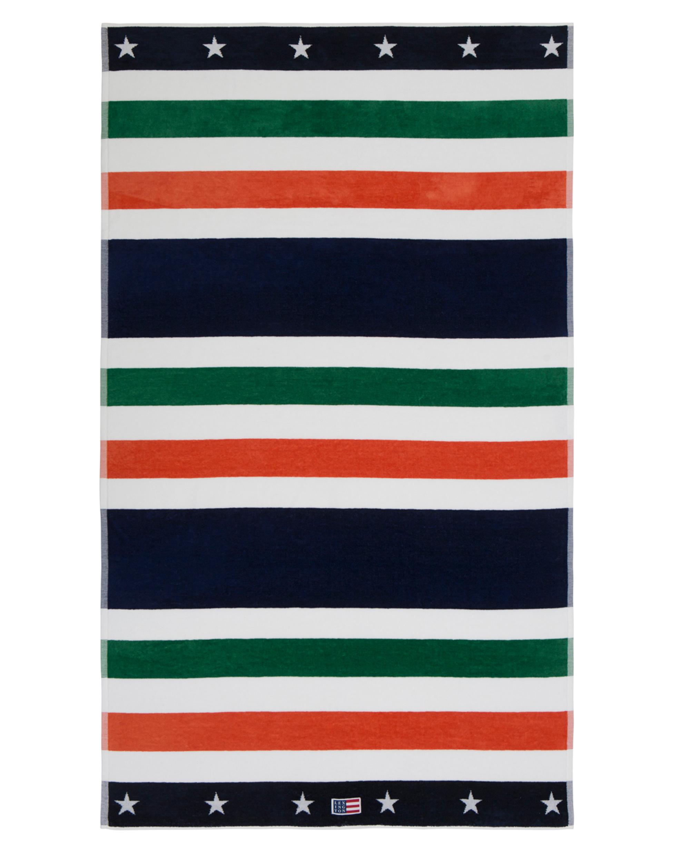 Multi Striped Velour Beach Towel 100x180, Green