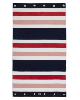 Multi Striped Velour Beach Towel 100x180, Red