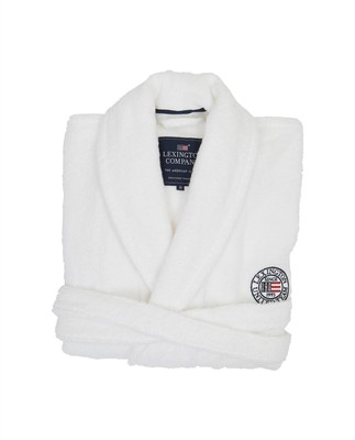 Unisex Terry Robe, White/Blue