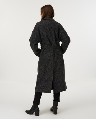 Alice Wool Coat, Dark Gray Melange
