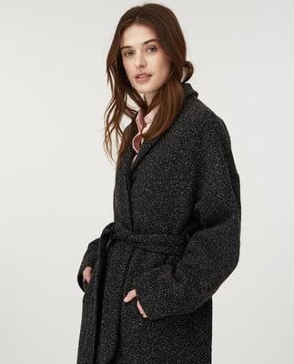 Alice Wool Coat, Dark Gray Melange