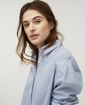 Edith Poplin Shirt, Blue/White Stripe