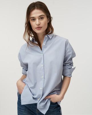 Edith Poplin Shirt, Blue/White Stripe