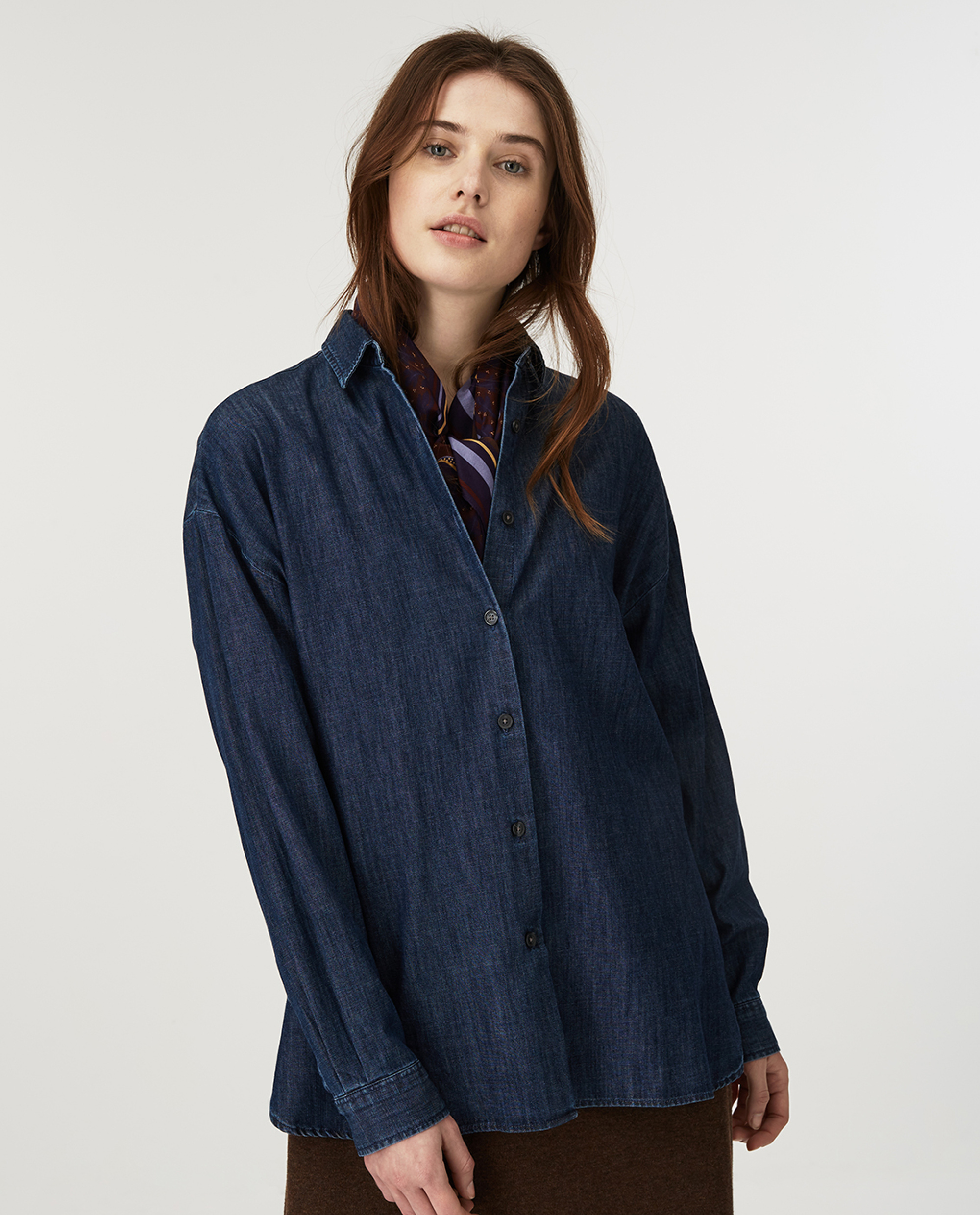 Edith Denim Shirt, Dark Blue