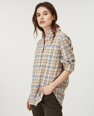 Isa Flannel Shirt, Beige Multi Check