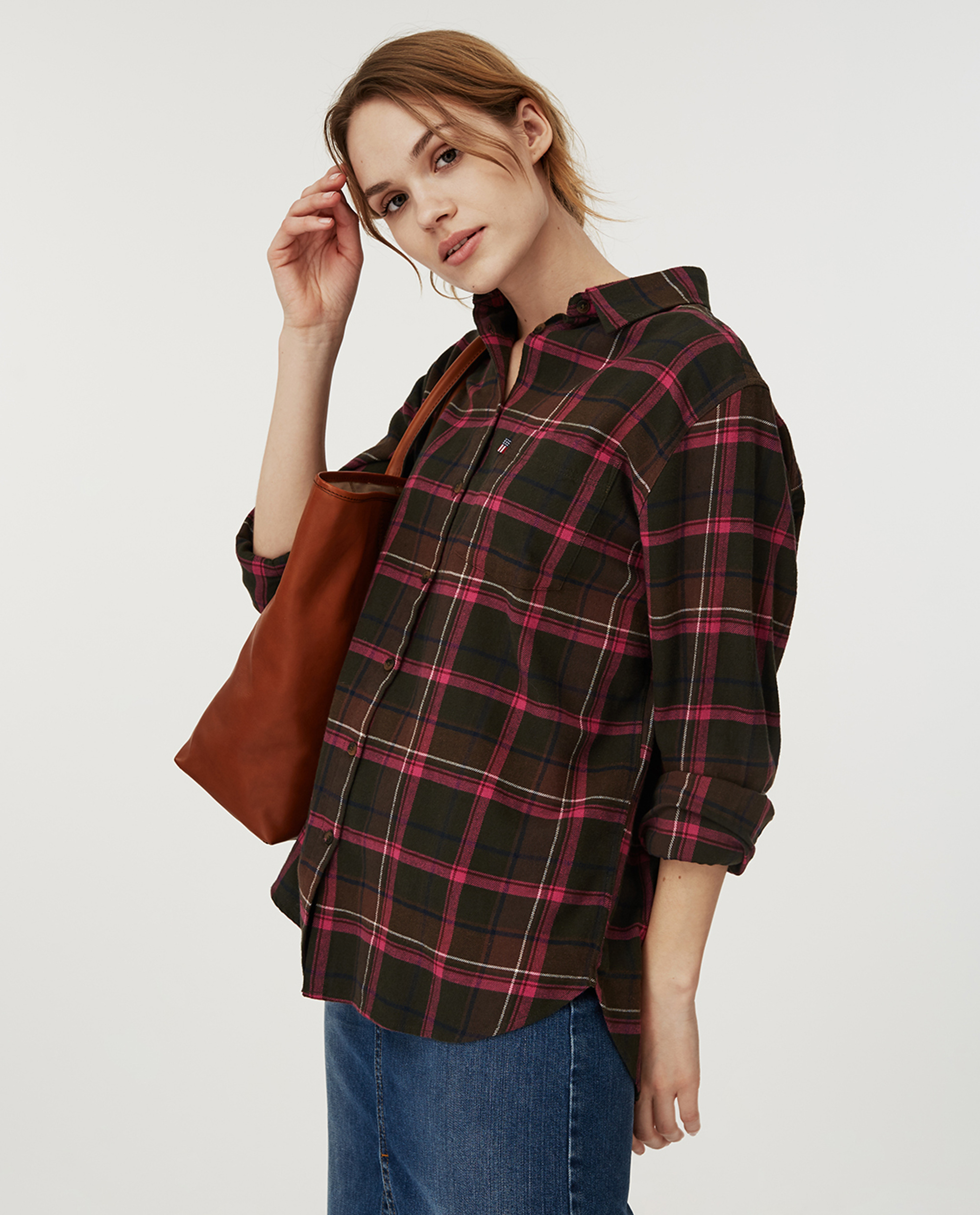 Isa Flannel Shirt, Green Multi Check