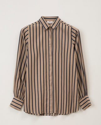 Isolde Lyocell Shirt, Beige Multi Stripe