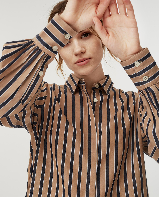 Isolde Lyocell Shirt, Beige Multi Stripe