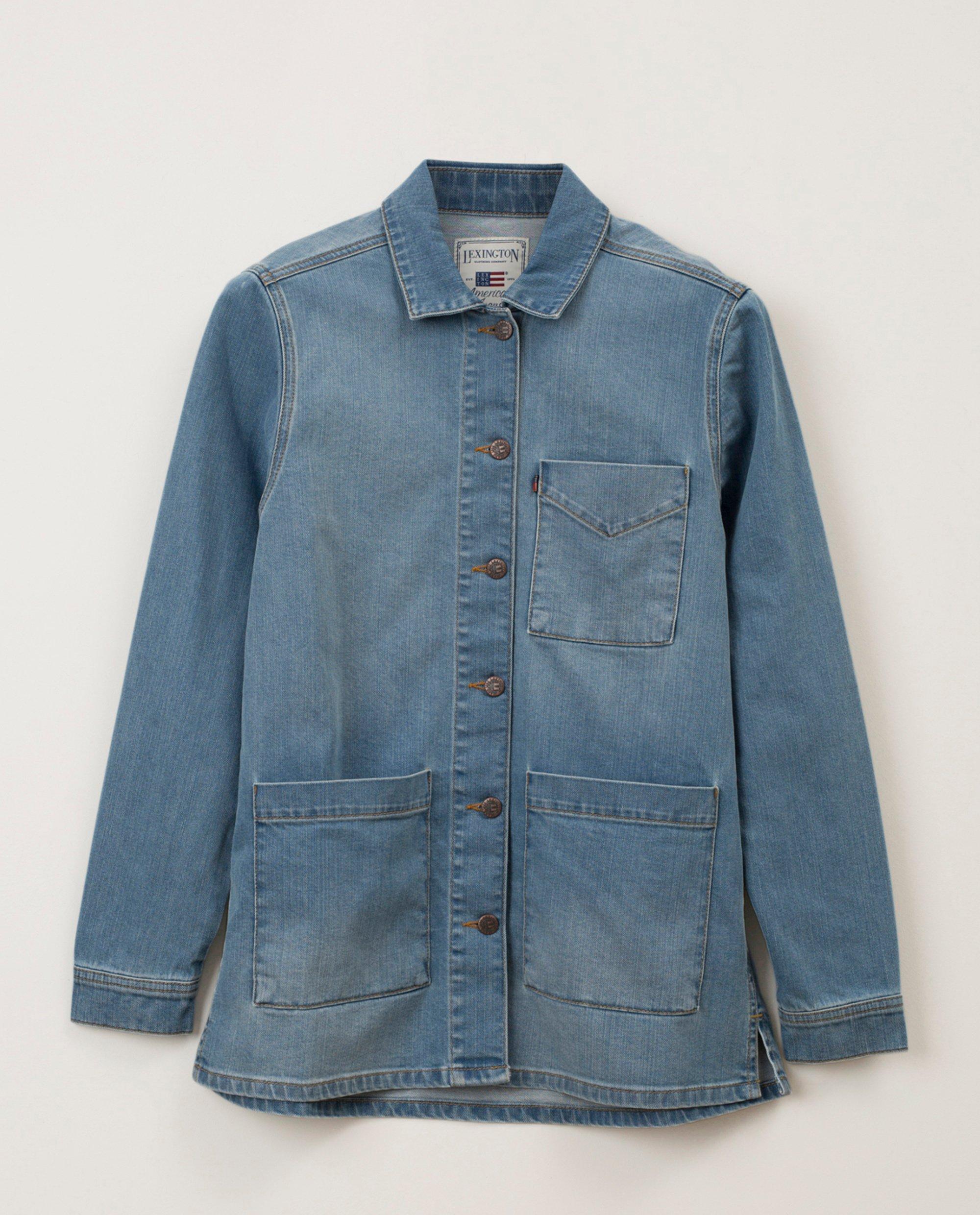Kathy Denim Worker Shirt, Medium Blue