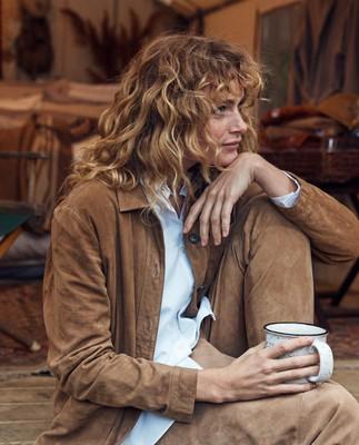 Kathy Suede Worker Shirt, Beige