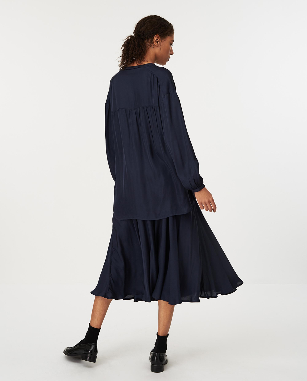 Nellie Satin Blouse, Dark Blue