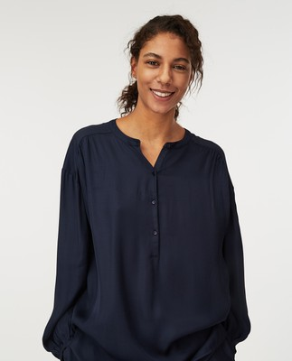 Nellie Satin Blouse, Dark Blue