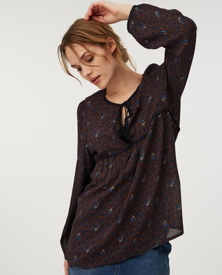 Freya Blouse, Feather Print