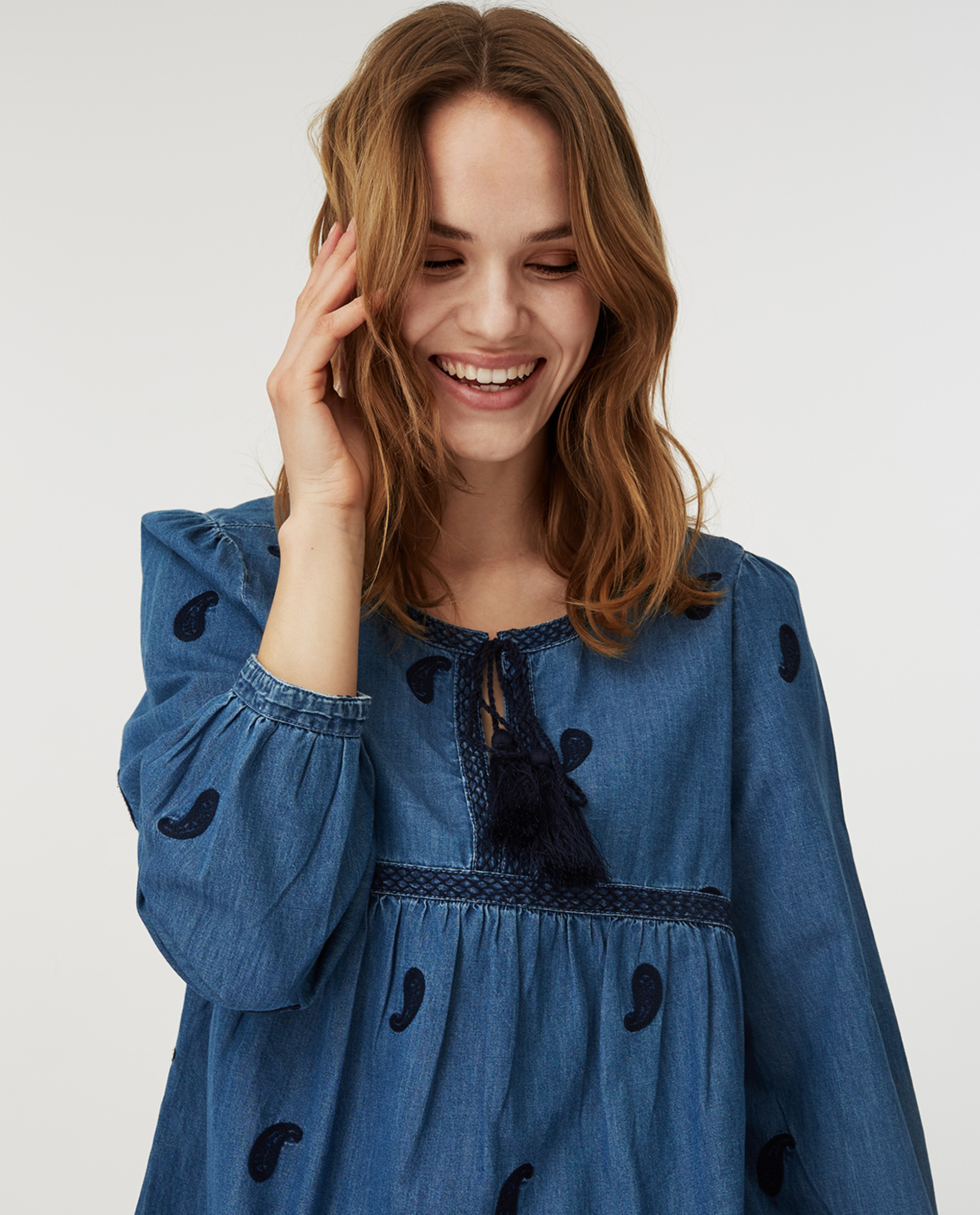 Freya Embroidery Blouse, Blue