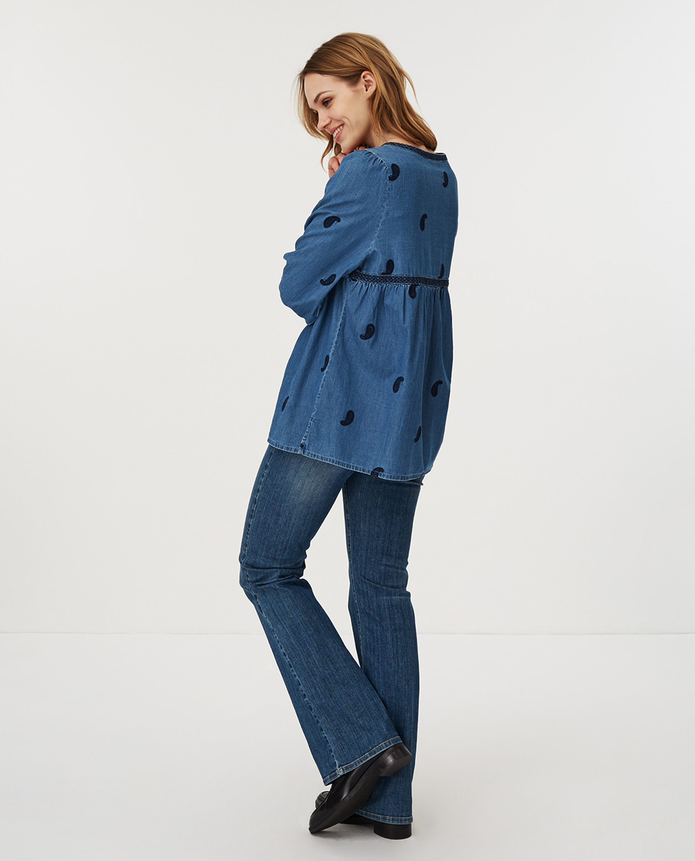 Freya Embroidery Blouse, Blue