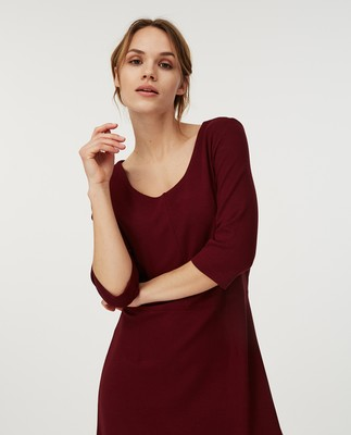 Scarlett U-neck Dress, Dark Red