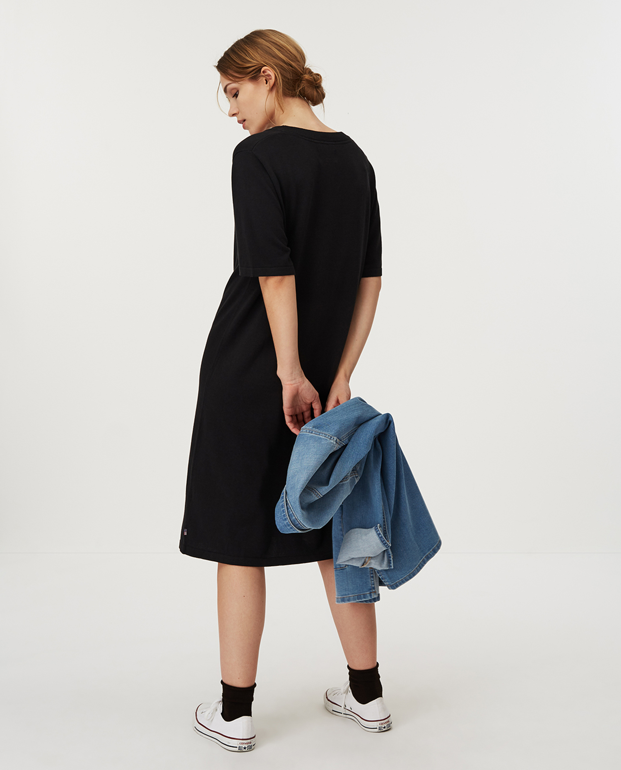 Amy Knitted Cotton/Bamboo Dress, Black