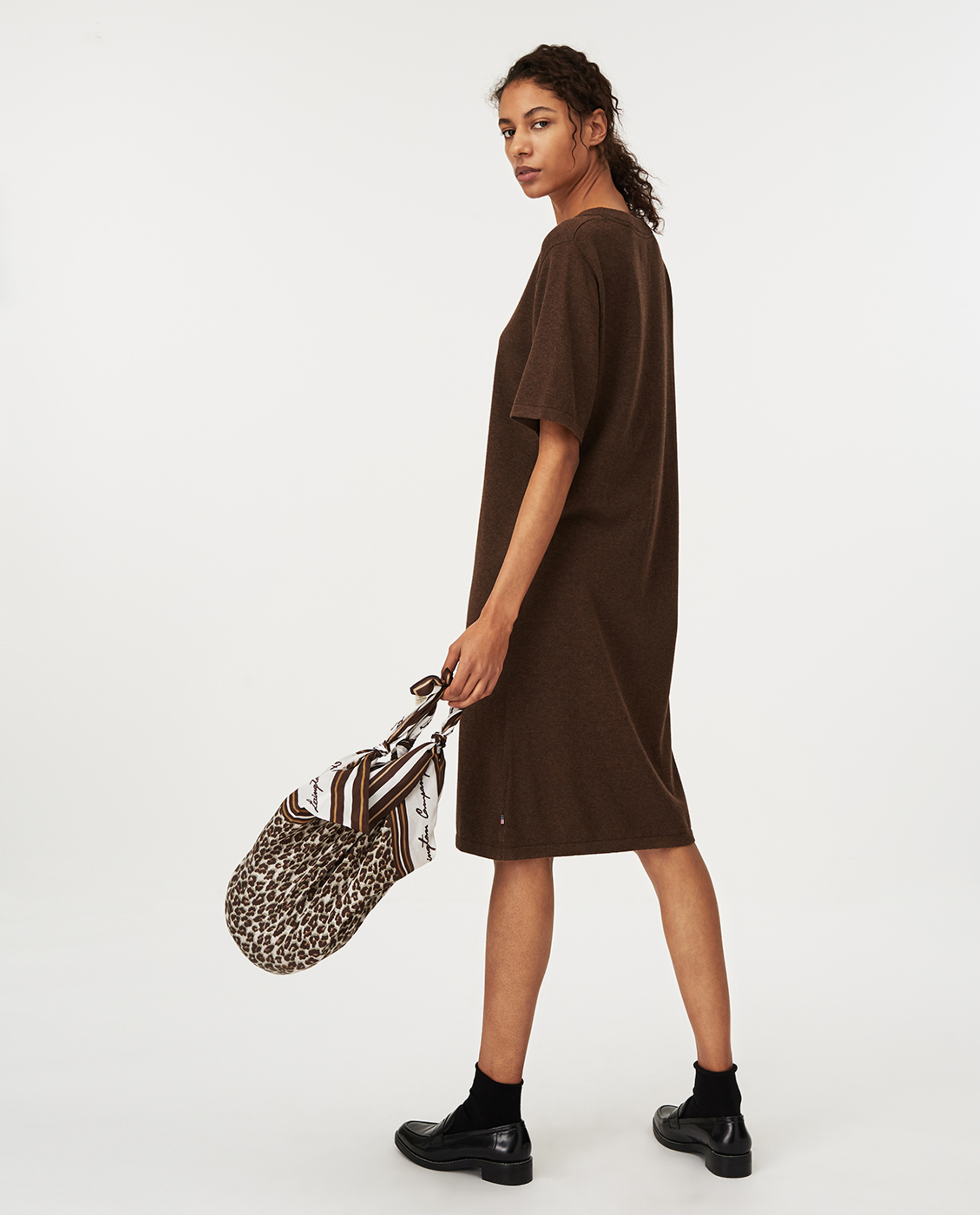 Amy Knitted Cotton/Bamboo Dress, Brown Melange