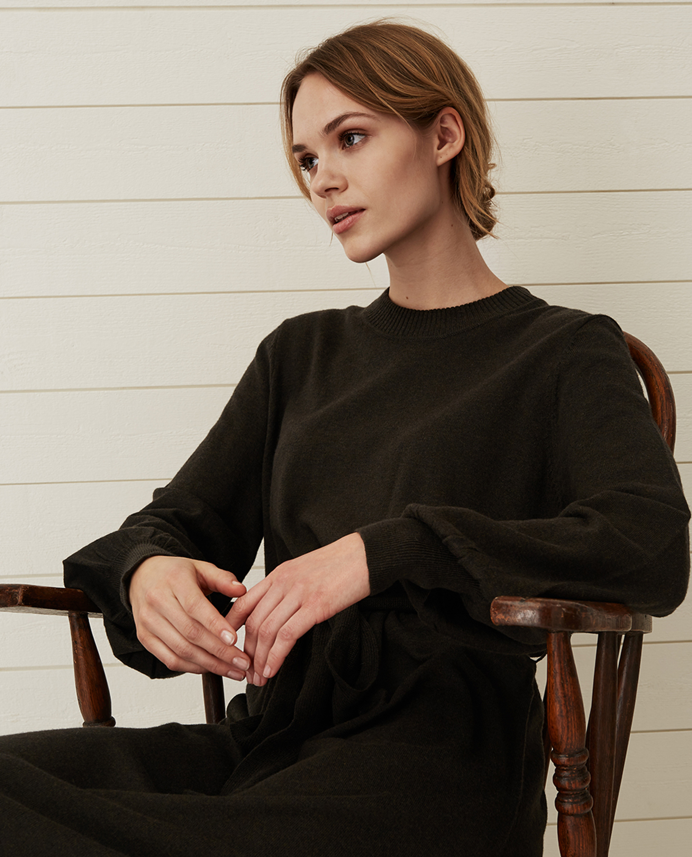 Jen Knitted Cotton/Merino Wool Dress, Green