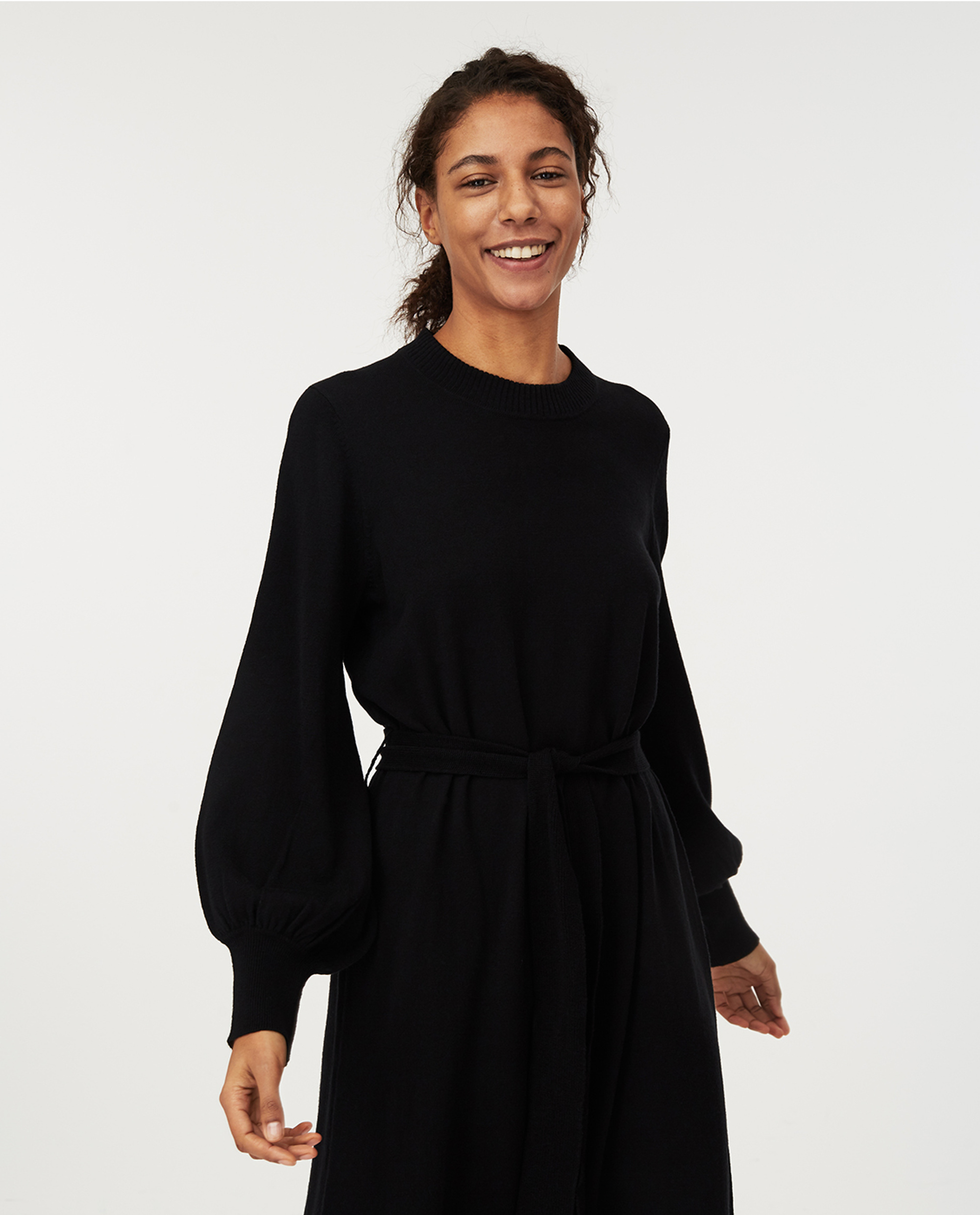 Jen Knitted Cotton/Merino Wool Dress, Black