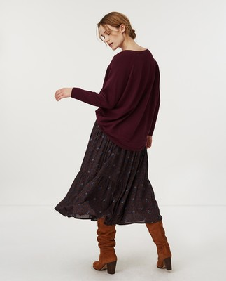 Lea Cotton/Cashmere Sweater, Dark Red