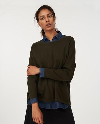 Lea Cotton/Cashmere Sweater, Green Melange