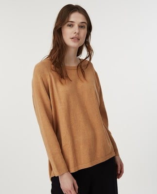Lea Cotton/Cashmere Sweater, Beige Melange