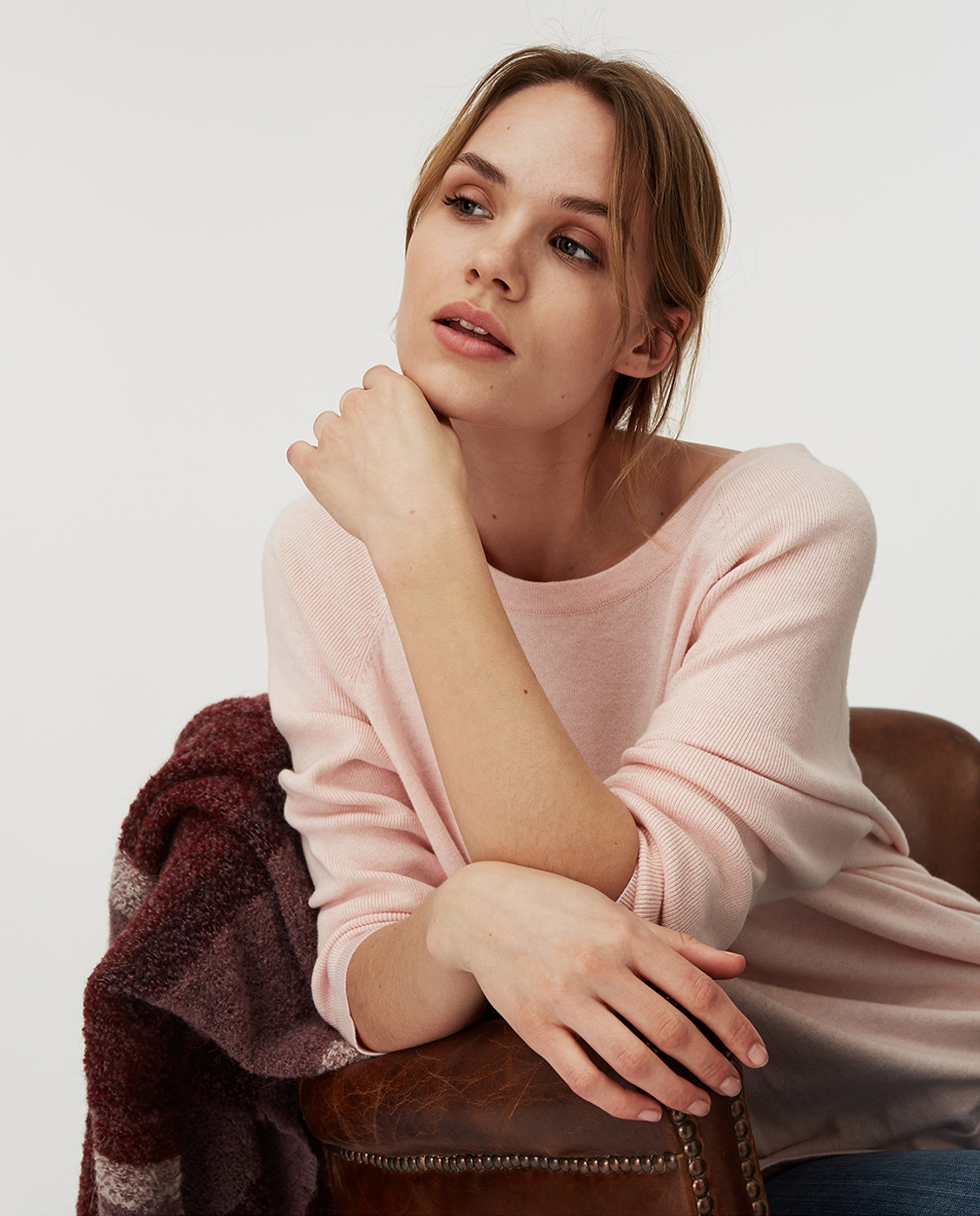 Lea Cotton/Cashmere Sweater, Pink Melange
