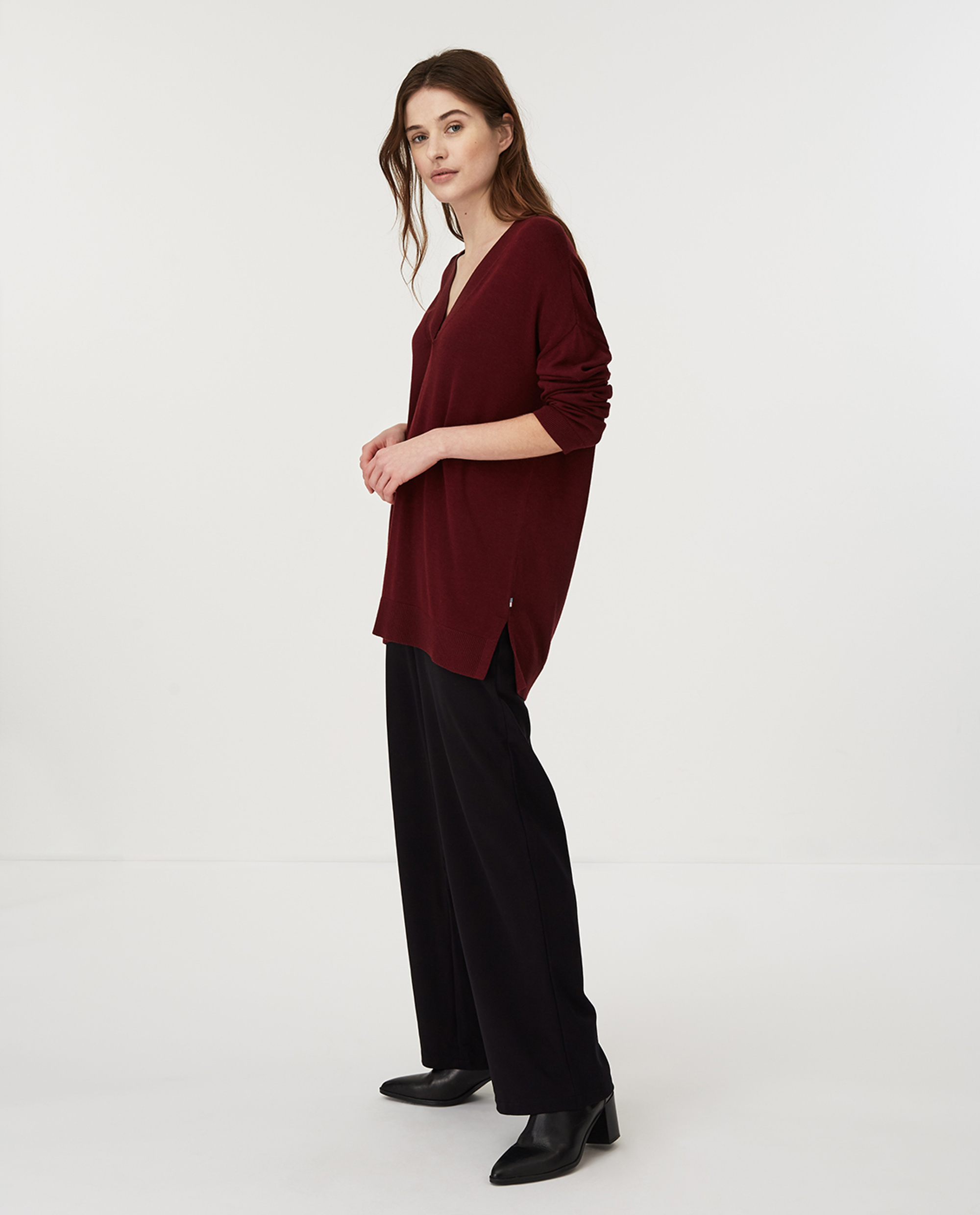 Ana Cotton/Bamboo V-neck Sweater, Dark Red