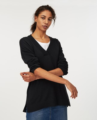 Ana Cotton/Bamboo V-neck Sweater, Black