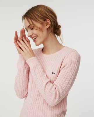 Felizia Cable Sweater, Pink Melange