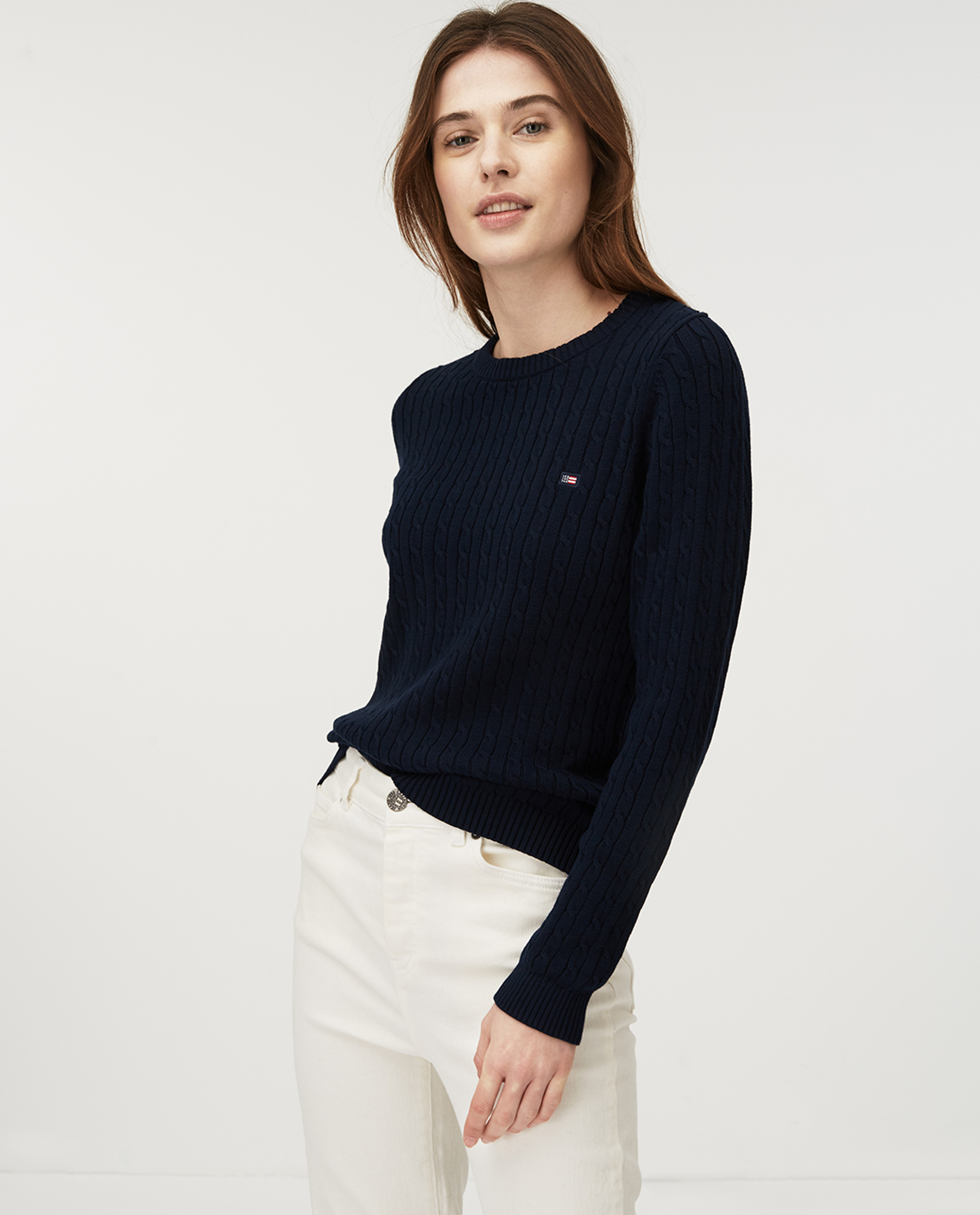 Felizia Cable Sweater, Dark Blue
