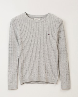 Felizia Cable Sweater, Light Grey Melange