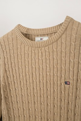 Felizia Cable Sweater, Beige Melange