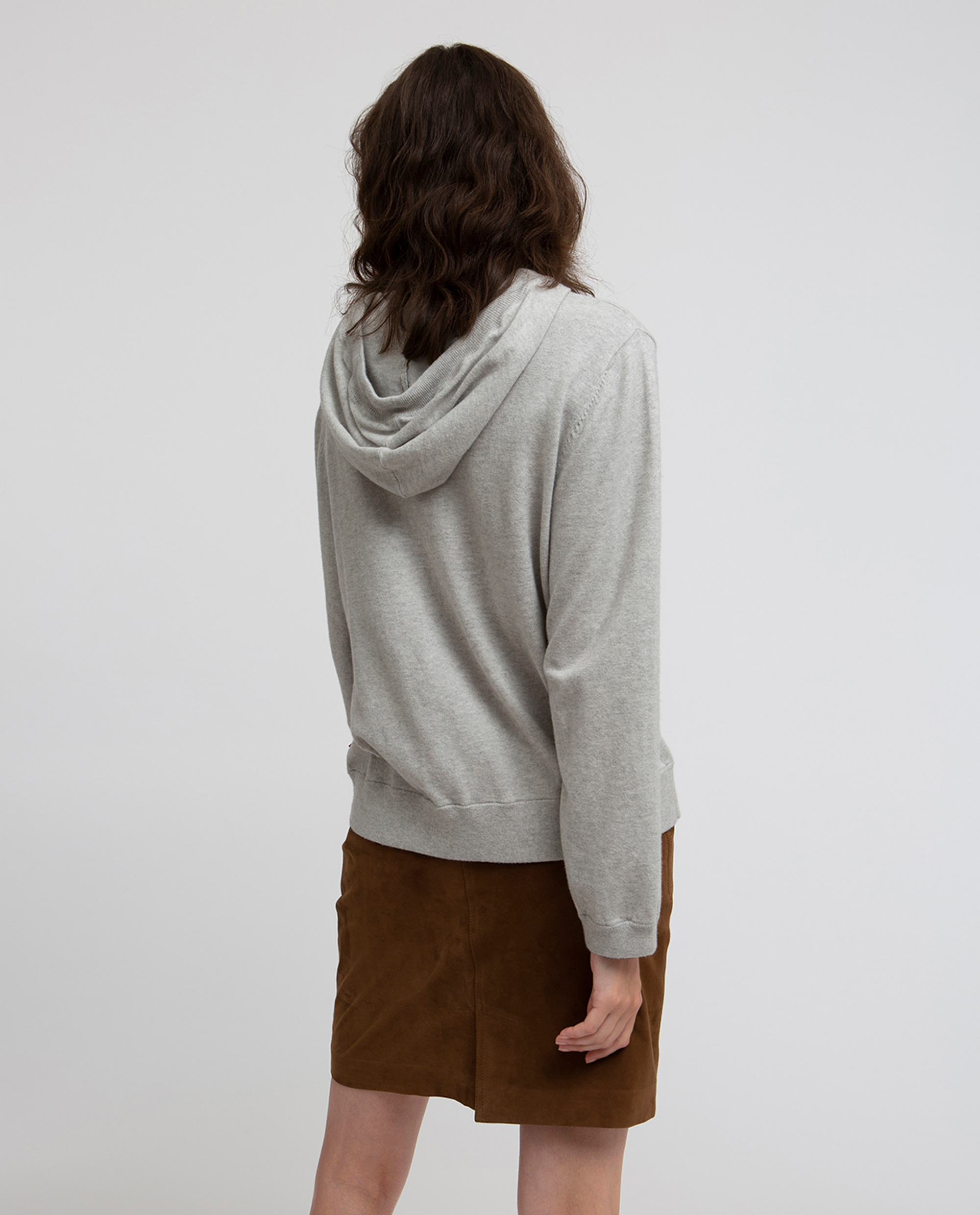 June Knitted Cotton/Cashmere Hoodie, Light Gray Melange