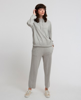 Des Knitted Cotton/Cashmere Track Pants, Light Grey Melange