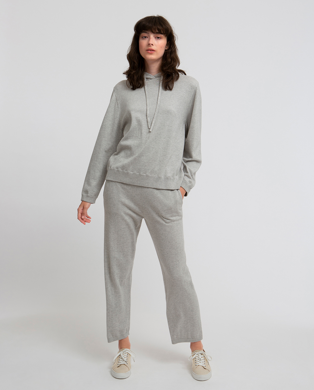 Des Knitted Cotton/Cashmere Track Pants, Light Grey Melange