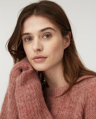 Siri Alpaca Blend Sweater, Pink Melange
