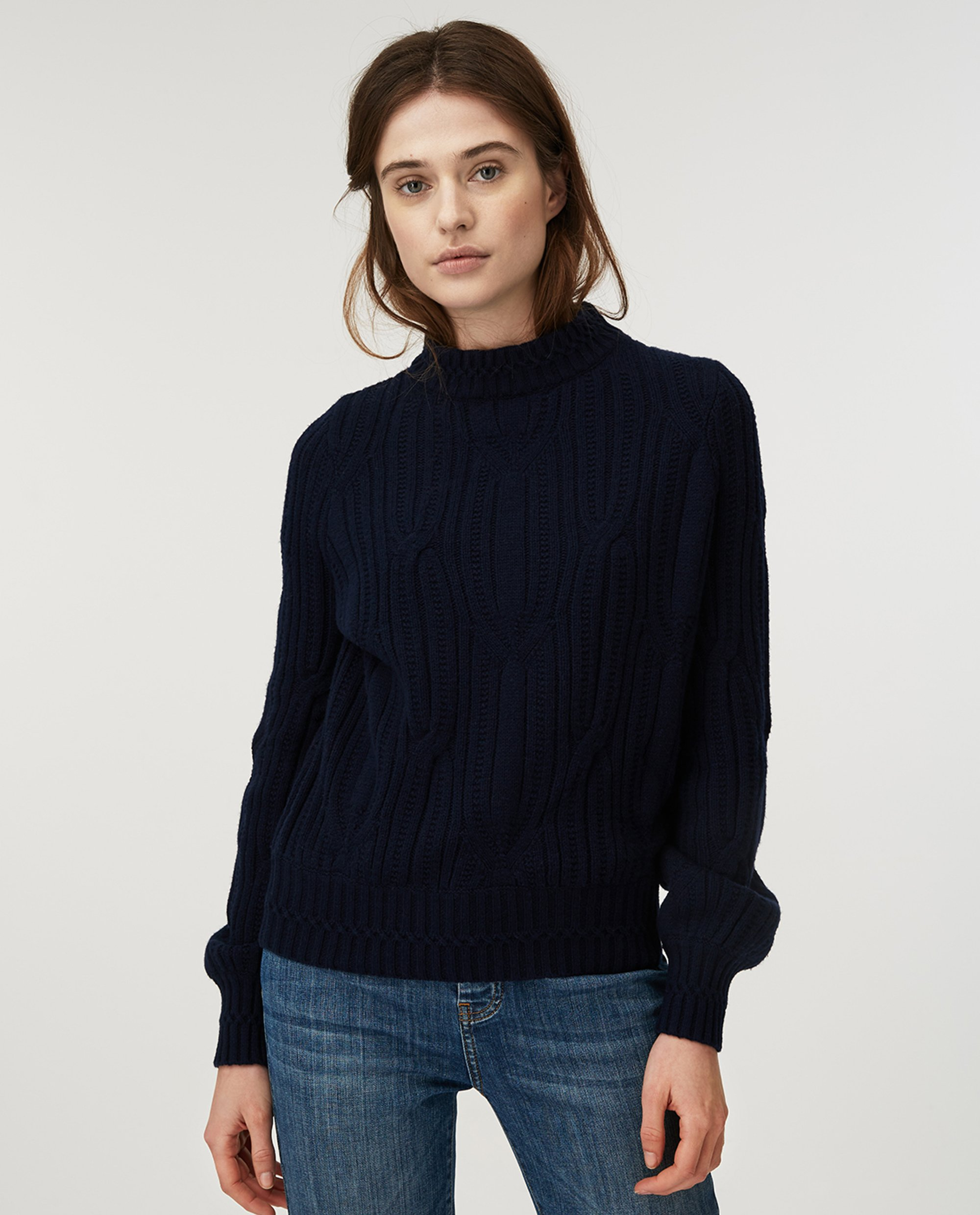 Trista Cable Sweater, Blue