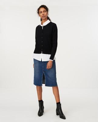 Daniella Cotton/Cashmere Cardigan, Black