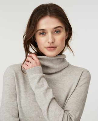 Francoise Cotton/Cashmere Roll Neck Sweater, Light Gray Melange