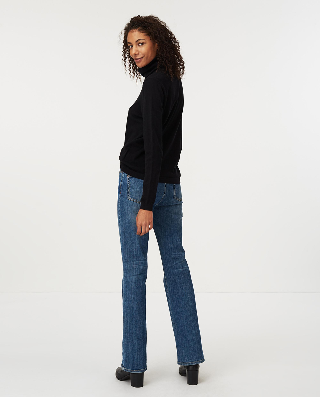 Francoise Cotton/Cashmere Roll Neck Sweater, Black