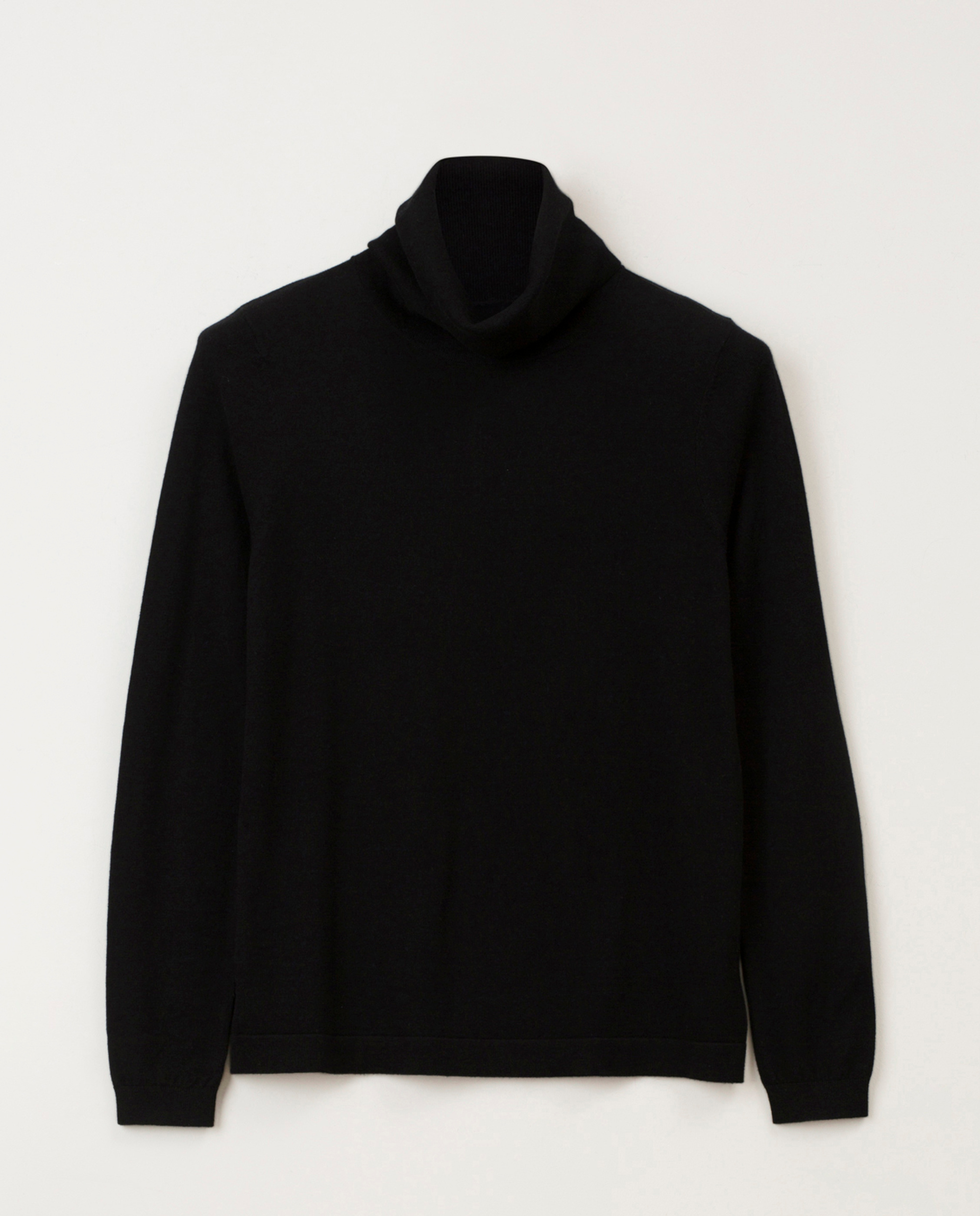 Francoise Cotton/Cashmere Roll Neck Sweater, Black